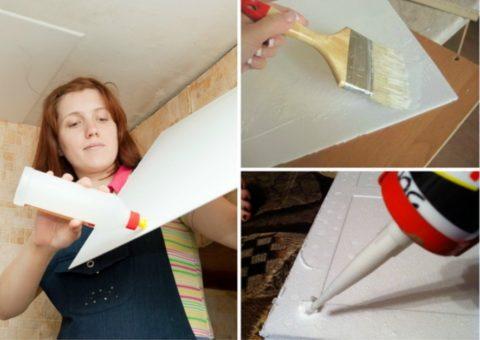 Плитку легко приклеить к потолку
