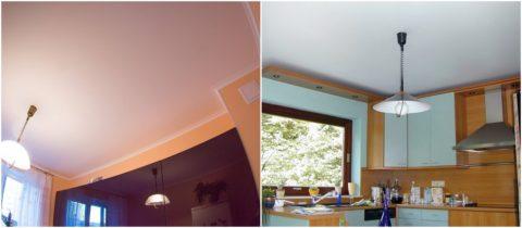 Побеленные потолки кухни