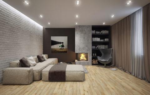 Подвесной потолок из гипсокартона с нишей под декоративную подсветку