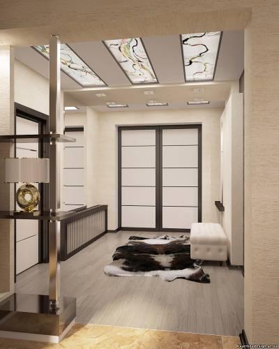 Подвесной потолок со стеклянными вставками