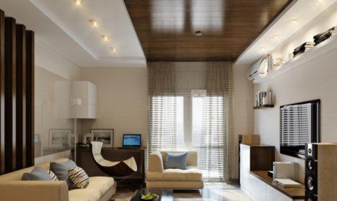 Подвесной потолок в квартире: гипсокартон и паркетная доска