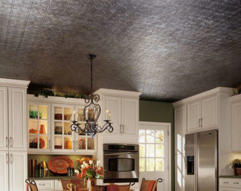 Полистирольная плитка для потолка: простой и недорогой материал в интерьере кухни