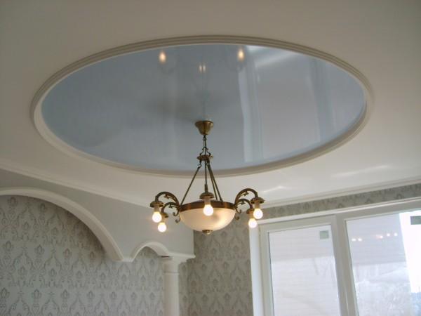 Потолки круглые комбинированные: ГКЛ и натяжная глянцевая плёнка