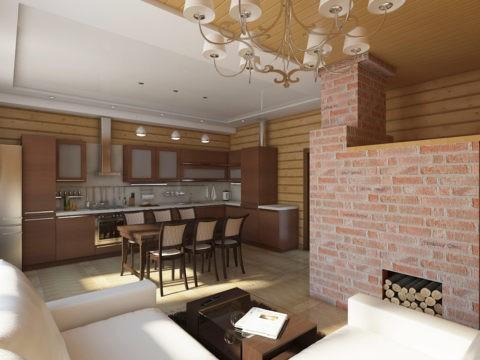 Потолки натяжные в деревянном доме с печью