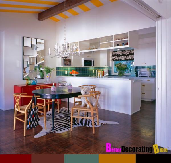 Потолки разноцветные: вариант для столовой