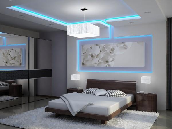 Потолочно-стеновая конструкция с неоновой подсветкой
