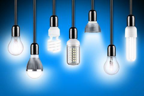Потолочные светильники могут комплектоваться разными типами ламп