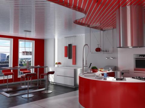 Потолок из алюминиевых реек на кухне