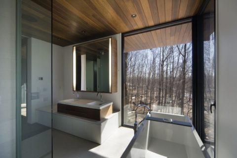 Потолок из планкена в ванной