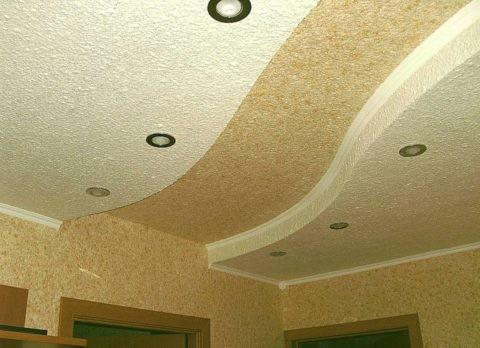Потолок из жидких обоев