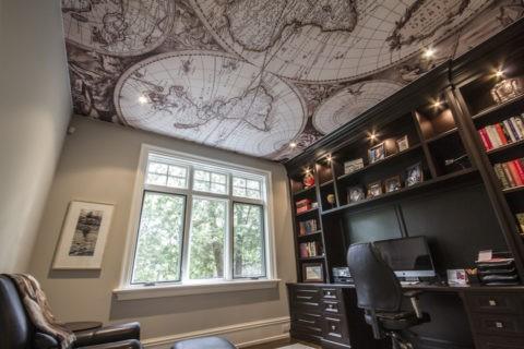 Потолок натяжной с фотопечатью в кабинете