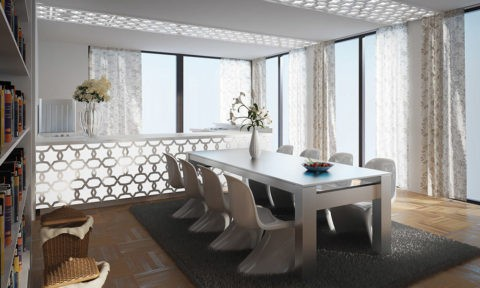 Потолок подвесной перфорированный из гипсокартона