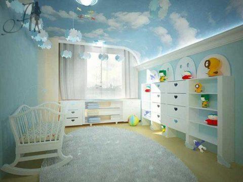 Потолок в детскую из гипсокартона: «облака»