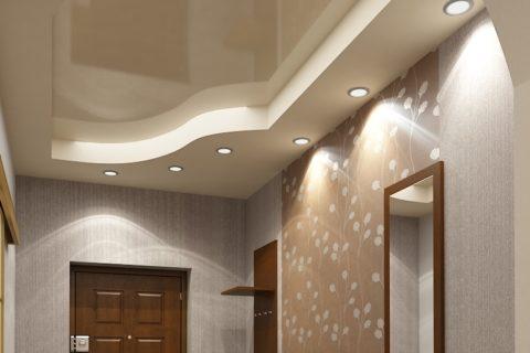 Потолок в прихожей с верхним натяжным и нижним гипсокартонным уровнями