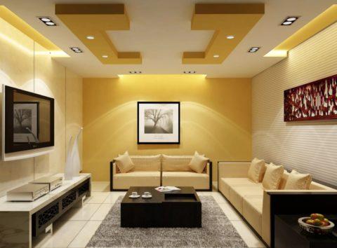 Потолок в три уровня
