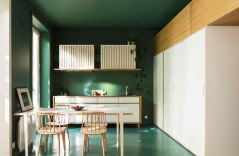 При правильной компоновке цветов в интерьере, даже тёмно-зелёный потолок будет смотреться гармонично