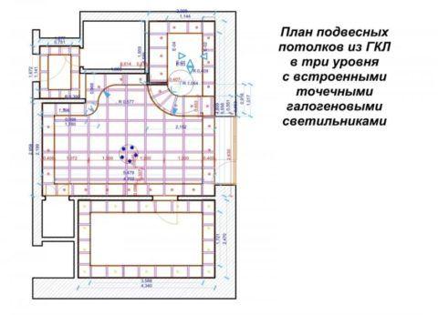 Пример чертежа с указанием мест расположения основных элементов каркаса