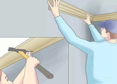 Примерка и установка деревянного плинтуса