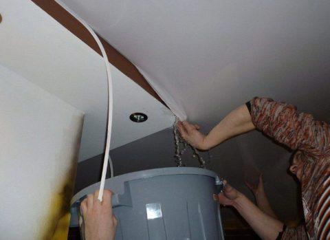 Процесс слива воды