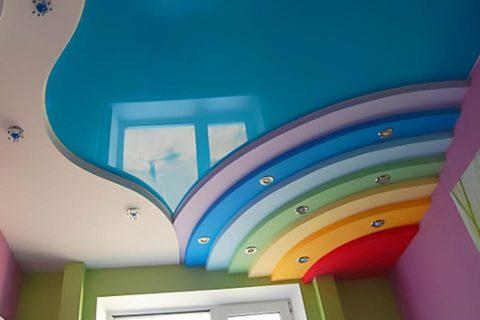 Радуга на потолке детской