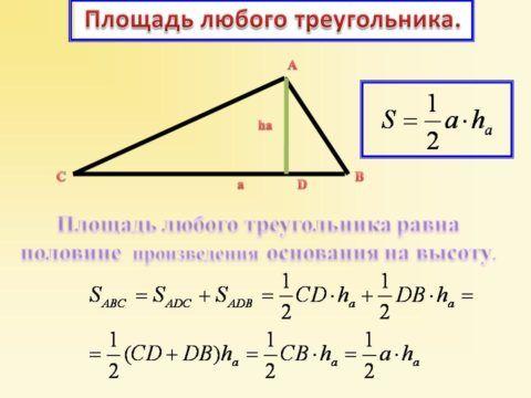 Рассчитываем площадь треугольника
