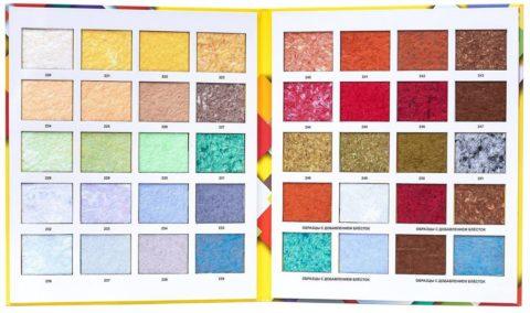 Разнообразие цвета и фактур жидких обоев