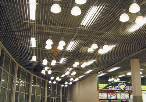 Реечный потолок в торговом центре