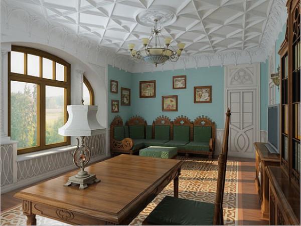 Рельефный потолок в романском интерьере