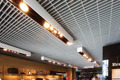 Решетчатые потолки из металла