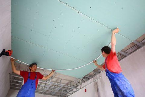 Рисуем плавные изгибы на потолке