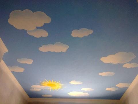 Рукотворные облака на потолке в детской