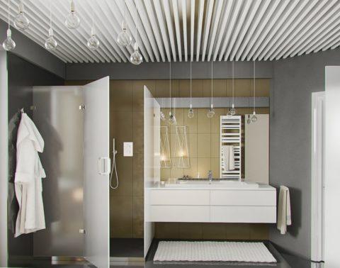Щелевой реечный потолок в дизайне просторного санузла