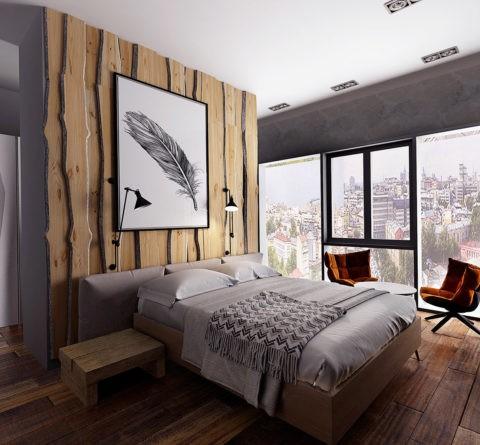 Сдвоенные точечные светильники на потолке и прикроватные лампы для удобства чтения