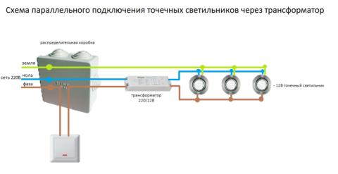 Схема монтажа и подключения встраиваемых свтильников