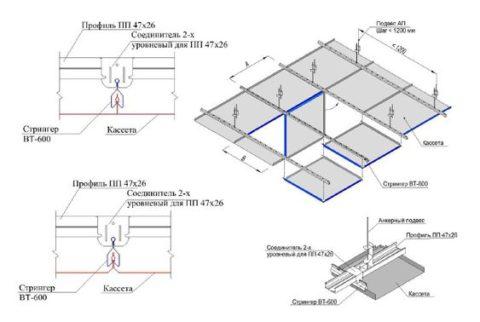 Схема монтажа кассетной конструкции