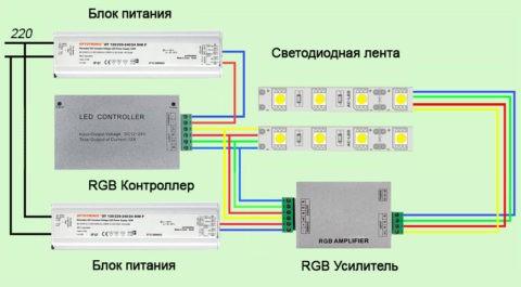 Схема подключения многоцветной диодной ленты