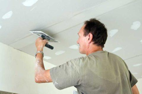 Шпаклевание швов гипсокартонного потолка