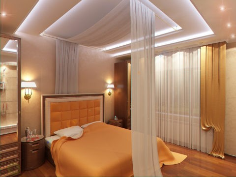 Сложный многоуровневый потолок в спальне