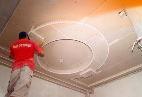 Собранный гипсокартонный потолок
