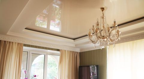 Сочетание натяжного потолка с гипсокартонным коробом