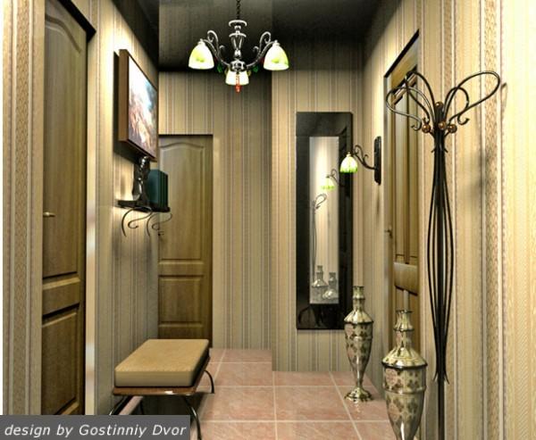 Вертикальная полоска на обоях и глянцевый потолок делают прихожую выше