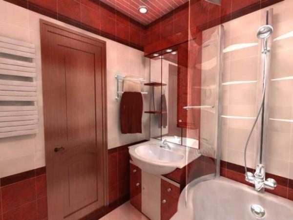 Яркий потолок и стены пастельных тонов в ванной