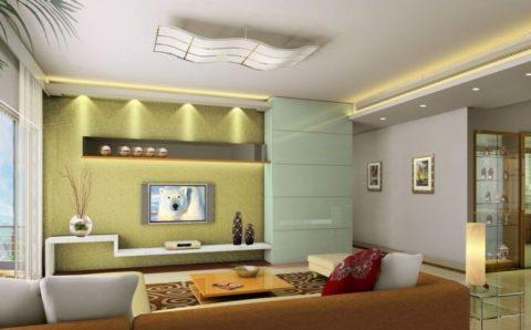 Сохранить существующую высоту потолка и подчеркнуть его лаконичное оформление можно при помощи подсветки гипсокартонных ниш