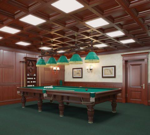 Современное решение для кессонного потолка – использование встроенных светильников