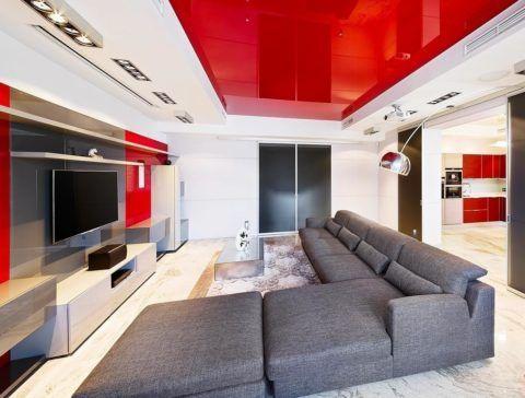 Современный дизайн комнат с обилием красного