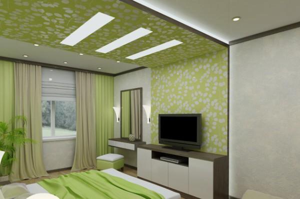 Спальня: оригинальный подшивной потолок из гипрока