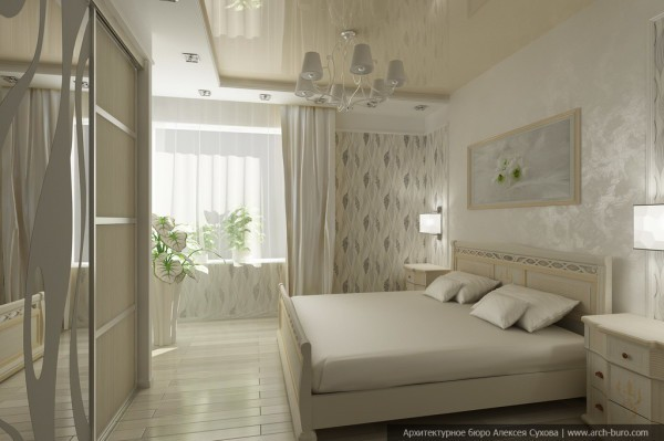 Спальня с натяжным потолком в стиле арт-деко