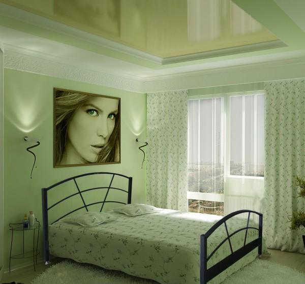 Спальня в зелёной гамме