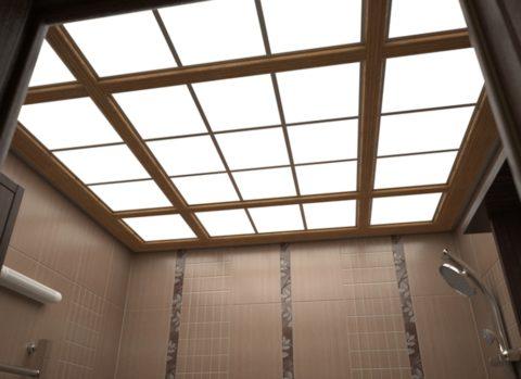 Стеклянный потолок, установленный на каркасе
