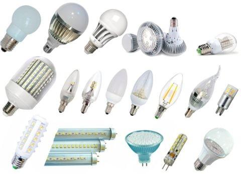 Существует большое разнообразие форм и цветов светодиодных ламп